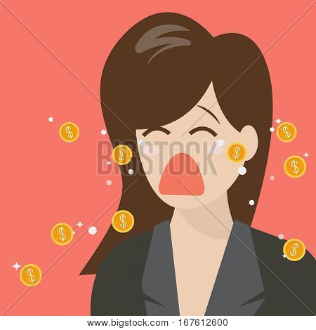Woman crying out in money tears. Business concept