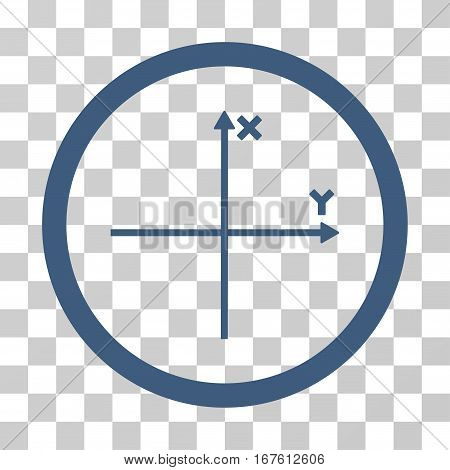 Coordinate Axis rounded icon. Vector illustration style is flat iconic bicolor symbol inside a circle cobalt and cyan colors transparent background. Designed for web and software interfaces.