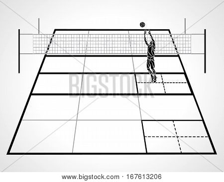 Detailed illustration of a volleyball court with perspective, setter player and ball, black and white eps8 vector