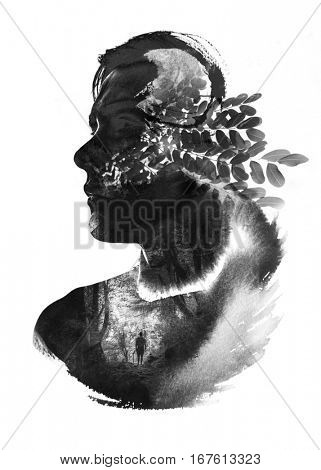 Three photographs combined with handmade ink painting