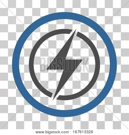 Electrical Hazard rounded icon. Vector illustration style is flat iconic bicolor symbol inside a circle cobalt and gray colors transparent background. Designed for web and software interfaces.