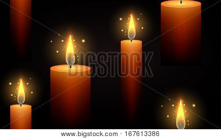 Seamless dark texture with burning candles and sparks. Vector background for your creativity