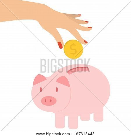 Woman's hand putting coin in piggy bank. Economy concept