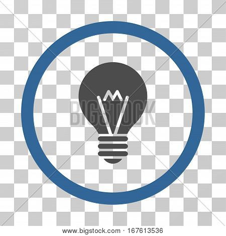Hint Bulb rounded icon. Vector illustration style is flat iconic bicolor symbol inside a circle cobalt and gray colors transparent background. Designed for web and software interfaces.