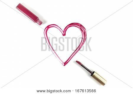 A heart drawn with lip gloss on white background, shot from above. 'Love Makeup' valentine card with copy space