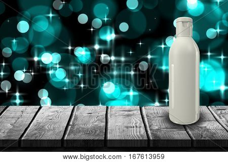 Bottle in gray color against digitally generated twinkling light design 3d