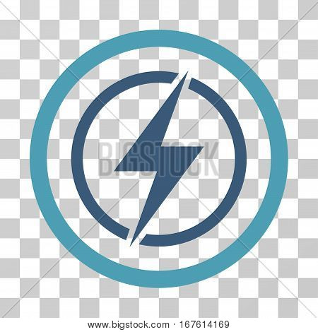 Electrical Hazard rounded icon. Vector illustration style is flat iconic bicolor symbol inside a circle cyan and blue colors transparent background. Designed for web and software interfaces.