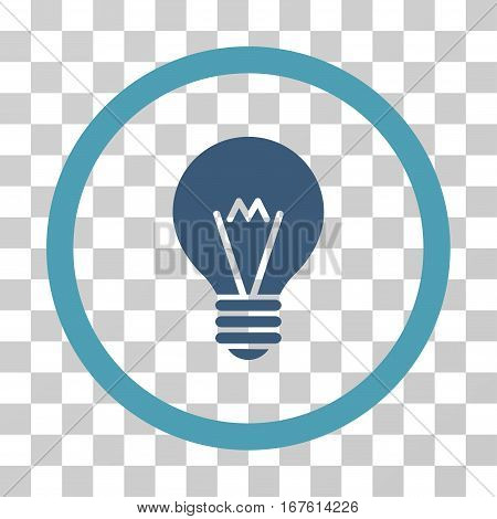 Hint Bulb rounded icon. Vector illustration style is flat iconic bicolor symbol inside a circle cyan and blue colors transparent background. Designed for web and software interfaces.