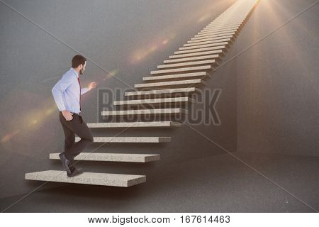 Unsmiling businessman in suit stepping against grey 3d