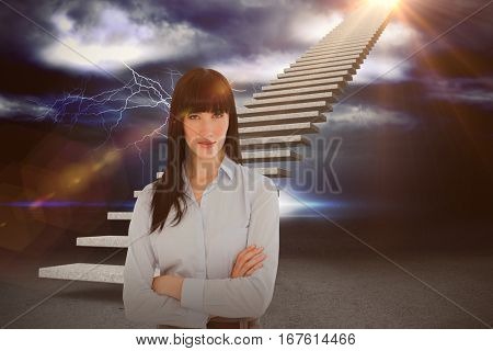 Woman in her office with her arms crossed against thunderstrom over landscape 3d