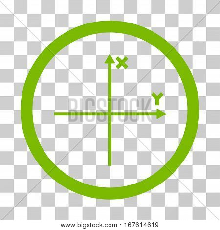 Coordinate Axis rounded icon. Vector illustration style is flat iconic bicolor symbol inside a circle eco green and gray colors transparent background. Designed for web and software interfaces.