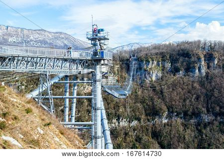 Sochi, Russia - January 18, 2017: SKYPARK AJ Hackett Sochi in Sochi National Park. The longest suspension footbridge in the world
