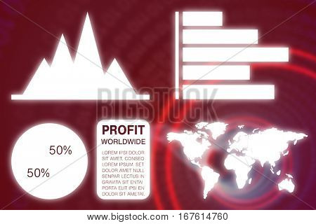 Graphic image of business presentation with charts and map against binary spiral with red glow