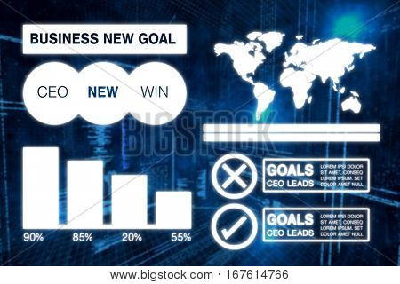 Graphic image of business presentation with charts and map against illustration of virtual data