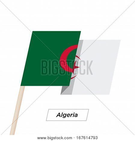 Algeria Ribbon Waving Flag Isolated on White. Vector Illustration. Algeria Flag with Sharp Corners