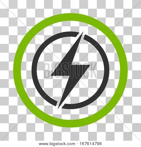 Electrical Hazard rounded icon. Vector illustration style is flat iconic bicolor symbol inside a circle eco green and gray colors transparent background. Designed for web and software interfaces.