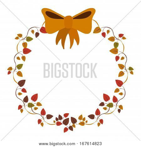border of creepers with ochre bow vector illustration
