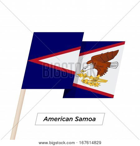 American Samoa Ribbon Waving Flag Isolated on White. Vector Illustration. American Samoa Flag with Sharp Corners
