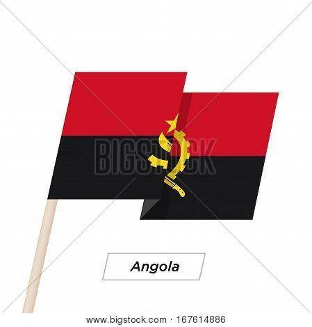 Angola Ribbon Waving Flag Isolated on White. Vector Illustration. Angola Flag with Sharp Corners