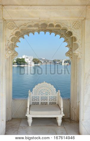 UDAIPUR INDIA - JANUARY 13 2017: Taj Lake Palace Hotel Rooftop View One of the most recognizable residences in the world was featured in the film Octopussy.