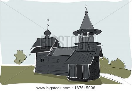 old orthodoxy church building watercolor drawing by hand. Vector scetch illustration