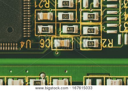 Electronic circuit board. CPU and memory chips