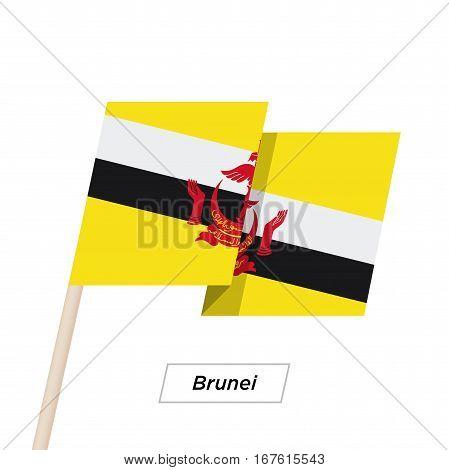 Brunei Ribbon Waving Flag Isolated on White. Vector Illustration. Brunei Flag with Sharp Corners