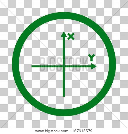 Coordinate Axis rounded icon. Vector illustration style is flat iconic bicolor symbol inside a circle green and gray colors transparent background. Designed for web and software interfaces.