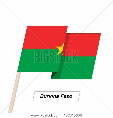 Burkina Faso Ribbon Waving Flag Isolated on White. Vector Illustration. Burkina Faso Flag with Sharp Corners