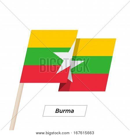 Burma Ribbon Waving Flag Isolated on White. Vector Illustration. Burma Flag with Sharp Corners