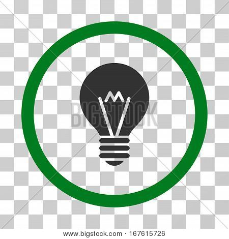 Hint Bulb rounded icon. Vector illustration style is flat iconic bicolor symbol inside a circle green and gray colors transparent background. Designed for web and software interfaces.