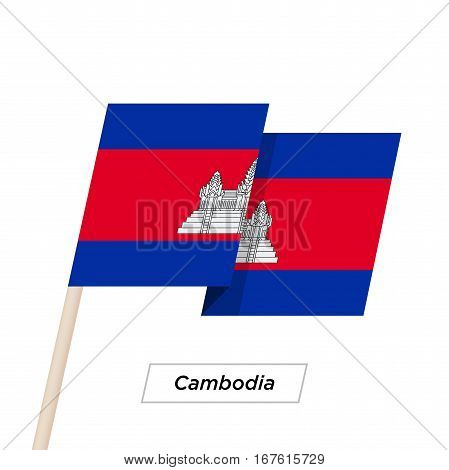Cambodia Ribbon Waving Flag Isolated on White. Vector Illustration. Cambodia Flag with Sharp Corners