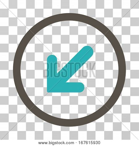 Arrow Left Down rounded icon. Vector illustration style is flat iconic bicolor symbol inside a circle grey and cyan colors transparent background. Designed for web and software interfaces.
