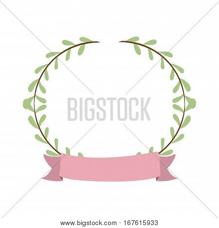 border with leaves and label vector illustration