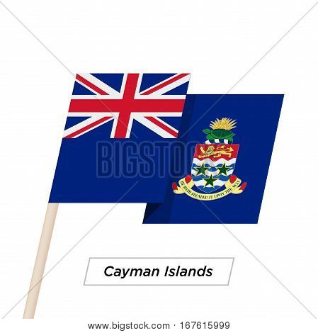 Cayman Islands Ribbon Waving Flag Isolated on White. Vector Illustration. Cayman Islands Flag with Sharp Corners