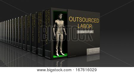 Outsourced Labor Endless Supply of Labor in Job Market Concept 3D Illustration Render