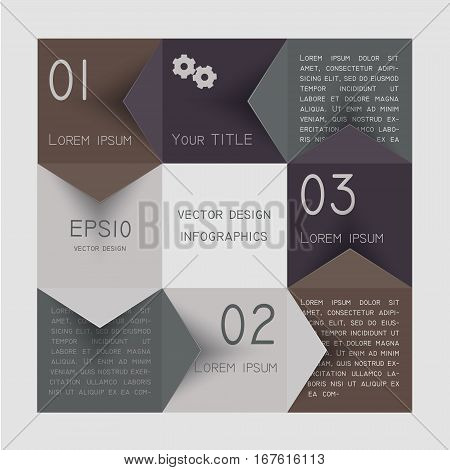 Infographic design template with paper tags. Vector illustration