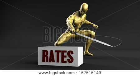 Reduce Rates and Minimize Business Concept 3D Illustration Render