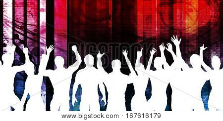 Celebration Background with People Cheering and Celebrating 3D Illustration Render