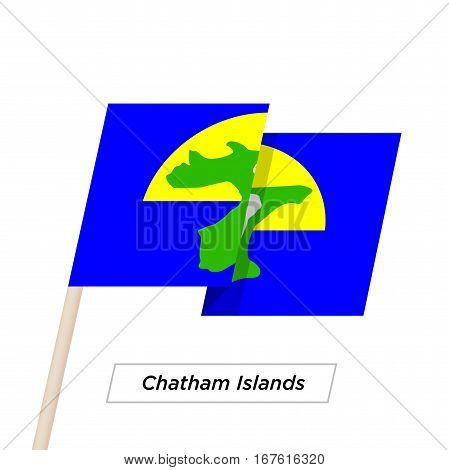 Chatham Islands Ribbon Waving Flag Isolated on White. Vector Illustration. Chatham Islands Flag with Sharp Corners