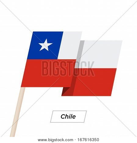 Chile Ribbon Waving Flag Isolated on White. Vector Illustration. Chile Flag with Sharp Corners