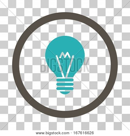 Hint Bulb rounded icon. Vector illustration style is flat iconic bicolor symbol inside a circle grey and cyan colors transparent background. Designed for web and software interfaces.