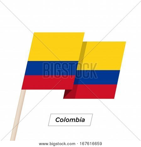 Colombia Ribbon Waving Flag Isolated on White. Vector Illustration. Colombia Flag with Sharp Corners