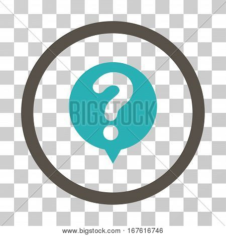 Status Query rounded icon. Vector illustration style is flat iconic bicolor symbol inside a circle grey and cyan colors transparent background. Designed for web and software interfaces.