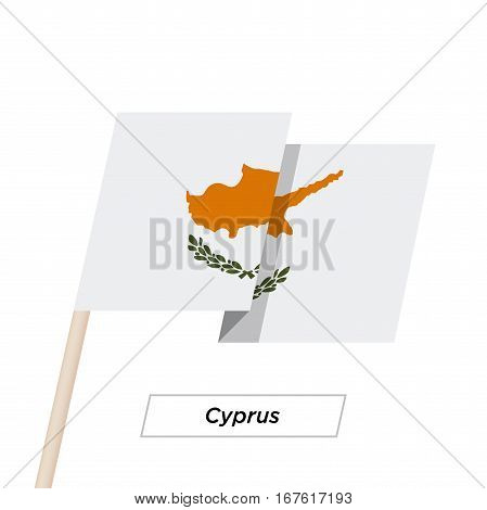 Cyprus Ribbon Waving Flag Isolated on White. Vector Illustration. Cyprus Flag with Sharp Corners