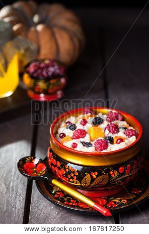 Russian Porridge With Pumpkin In Hohloma Dish