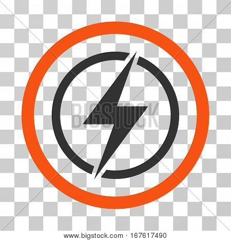 Electrical Hazard rounded icon. Vector illustration style is flat iconic bicolor symbol inside a circle orange and gray colors transparent background. Designed for web and software interfaces.