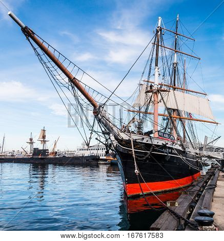 SAN DIEGO, CALIFORNIA - JANUARY 8, 2017:  The Star of India is a historic tall ship, as it is the world's oldest active sailing ship.