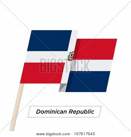 Dominican Republic Ribbon Waving Flag Isolated on White. Vector Illustration. Dominican Republic Flag with Sharp Corners