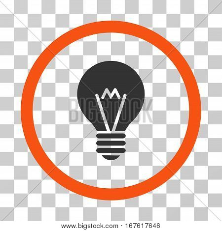 Hint Bulb rounded icon. Vector illustration style is flat iconic bicolor symbol inside a circle orange and gray colors transparent background. Designed for web and software interfaces.